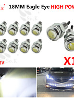 10X 18MM 9W white LED Eagle Eye Daytime Running DRL Backup Light Fog Car Auto  12V