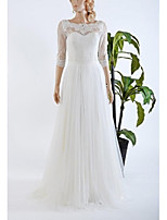 A-line Wedding Dress-White Sweep/Brush Train Scalloped-Edge Lace / Tulle