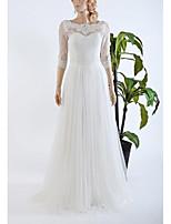 Vestido de Noiva-Branco Trapézio Borda Ondulada Cauda Escova Renda / Tule