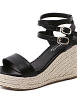 Women's Shoes Leatherette Wedge Heel Open Toe Sandals Party & Evening / Dress Black / Almond