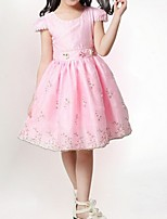 Girl's Pink / White Dress,Floral / Bow Polyester Summer / Spring