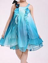 Girl's Blue / Red Dress,Ruffle Cotton Summer / Spring