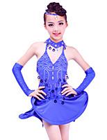 Latin Dance Dresses Children's Performance Spandex / Sequined Draped 5 Pieces Fuchsia / Purple / Royal Blue