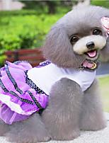 Perros Vestidos Rojo / Morado Primavera/Otoño Lazo / Lunares Moda