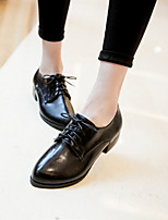 Women's Shoes Low Heel Round Toe Oxfords Casual Black / Yellow / Burgundy