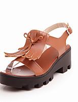 Women's Shoes Retro Tassel Platform / Open Toe Sandals Office & Career / Dress / Casual Black / Brown / White