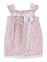 Girl's Pink Dress,Floral Cotton Summer