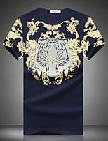 Men's Fashion Printing Round Collar Slim Fit Short-Sleeve T-Shirt