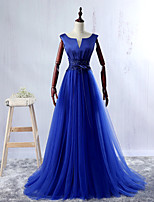 Vestido-Azul Festa Formal De Baile Decote V Longo Renda / Cetim / Tule