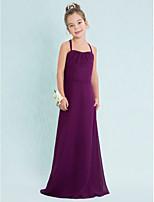 השושבינה שמלה-ענבים באורך הרצפה שיפון זוטר כתפיות ספגטי נדן / טור