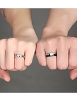 AAA Zirconium Drill 18 K Gold Titanium Steel Couples Ring