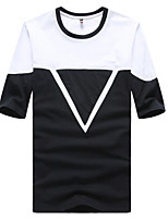 Men's Fashion Triangle Round Collar Slim Fit Short-Sleeve T-Shirt