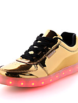 Men's Sneakers Summer Fall Light Up Shoes Comfort PU Outdoor Casual Flat Heel Sliver Gold