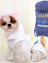 Dog Jumpsuit White / Blue Spring/Fall Fashion