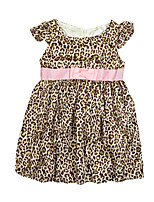 New Baby Girls Kids Dress Leopard Print Butterfly Sleeve Bow Belt Zipper O Neck Cute Children Princess Dress