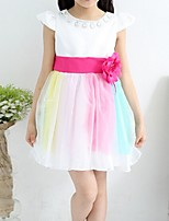 Girl's Pink / Red Dress,Lace Polyester Summer / Spring