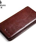 Bi-fold (due scomparti)-Portafoglio / Porta carte di credito-Uomo-Vacchetta-Marrone / Nero