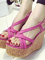 Women's Shoes Wedge Heel Closed Toe Sandals Dress / Casual Black / Fuchsia