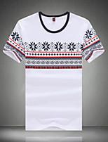 Men's Short Sleeve T-Shirt,Polyester Casual / Sport Print