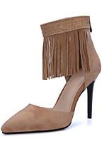 Zapatos de mujer-Tacón Stiletto-Tacones / Puntiagudos-Sandalias-Vestido / Casual / Fiesta y Noche-Ante-Negro / Almendra