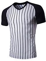Men's Short Sleeve T-Shirt , Cotton Casual / Work / Formal / Sport Pure