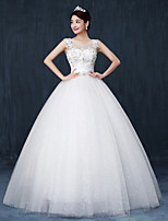 Ball Gown Wedding Dress - White Floor-length Scoop Lace
