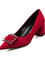 Women's Shoes Suede Chunky Heel Heels / Pointed Toe / Closed Toe Heels Dress Black / Red / Gray