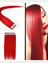 Tape In Human Hair Extension #RED color 20pcs Remy  Brazilian Virgin Straight Skin Weft Hair Extensions