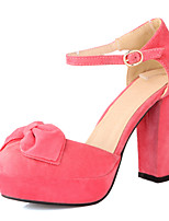 Women's Shoes Fleece Chunky Heel Heels / Comfort / Closed Toe Heels Office & Career / Dress Black / Pink / Red / Orange