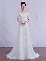 웨딩 드레스 - 아이보리(색상은 모니터에 따라 다를 수 있음) A 라인 스위프/브러쉬 트레인 오프 더 숄더 튤