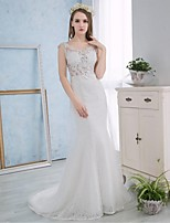 Trumpet/Mermaid Wedding Dress - White Court Train Scoop Lace / Satin