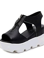 Women's Shoes Tulle / Leatherette Wedge Heel Wedges Sandals Casual Black / White