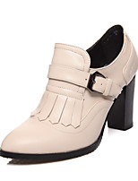 Women's Spring / Summer / Fall Heels / Comfort / Round Toe PU Outdoor / Office & Career / Dress Chunky Heel Buckle / Tassel Black / Almond
