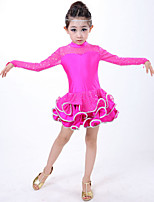 Latin Dance Dresses Children's Performance Spandex Draped 1 Piece Blue / Fuchsia / Red / Yellow