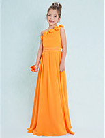 Lan Ting Floor-length Chiffon Junior Bridesmaid Dress-Orange Sheath/Column One Shoulder