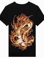 Men's Short Sleeve T-Shirt,Cotton Casual / Work / Formal / Sport Print 3D dragon T-shirt fashion clothes T-shirt