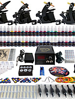 Solong Tattoo Complete Tattoo Kit 4 Pro Machine Guns 54 Inks Power Supply Foot Pedal Needles Grips Tips TK457