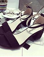 Women's Shoes Fleece Chunky Heel Heels Sandals Casual Black / Gray