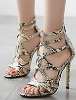 Women's Shoes Leatherette Stiletto Heel Open Toe Sandals Party & Evening / Dress Gray