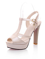 Women's Shoes Leatherette Stiletto Heel Heels Sandals Wedding / Office & Career / Party & Evening  / Almond