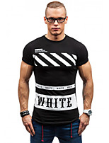 Men's Short Sleeve T-Shirt , Polyester Casual Print / Color Block