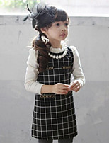 Girl's Black / White Dress,Check Cotton Spring / Fall