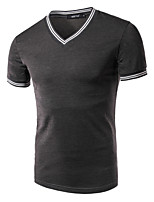 Men's Short Sleeve T-Shirt , Polyester / Nylon Casual / Work / Formal / Sport / Plus Sizes Pure