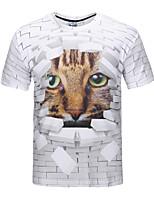 Herren T-shirt-Druck Freizeit / Formal / Sport Polyester Kurz-Weiß