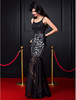 TS Couture® Formal Evening Dress-Black Fit & Flare Spaghetti Straps Floor-length Lace