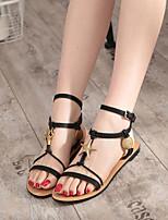 Women's Shoes Leatherette Flat Heel Platform / Open Toe Sandals Casual Black / Brown