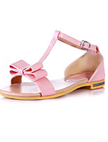 Women's Shoes Patent Leather Flat Heel Peep Toe Sandals Outdoor / Dress / Casual Blue / Pink / Gray / Beige