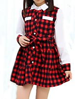 Girl's Black / Red Dress,Check Cotton Summer / Spring