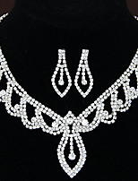 Women's Fashion Shiny Rhinestone Bridal Sets Bridal Accessories Necklace Earrings Set Wedding Party Gift