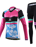 CHEJI Colorful Flowers Women Breathable Cycling JerseyLong Sleeve Set